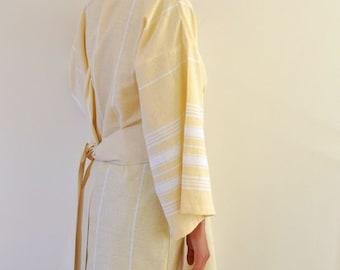 Bridesmaids Robes Set of 3 Peshtemal Bath Robe Kimono Robe Wearable Cotton Turkish Bath Towel Handmade Yellow Obi Belt