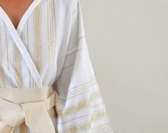 Kimono Robe Turkish Bath Towel Peshtemal Robe Bathrobe Caftan with Obi Belt Bridesmaids Robe