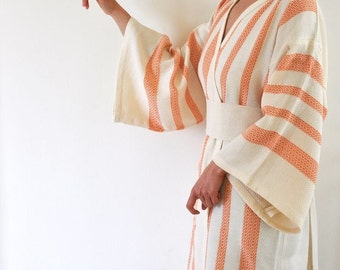 Robe Kimono Robe Peshtemal Robe Orange Eco Friendly Extra Soft Cotton Wearable Turkish Bath Towel Caftan Obi Belt