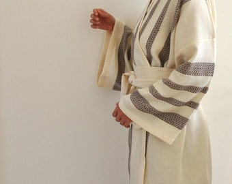 Robe Kimono Peshtemal Bathrobe Bath Robe Turkish Bath Towel Extra Soft Cotton Organic Obi Belt Brownish Purple Dark Purple Striped