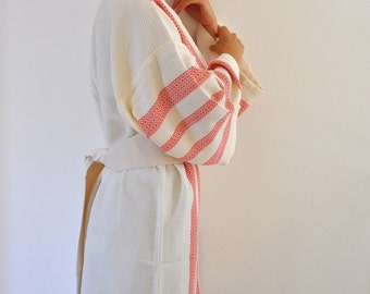 Robe Bathrobe Cotton Turkish Bath Towel Peshtemal Kimono Robe Caftan Bath and Beauty Red Ruby Garnet