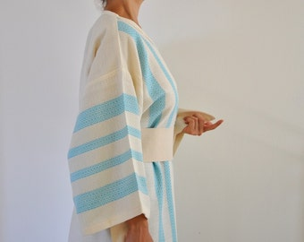 Bath Robe Kimono Robe Wearable Turkish Bath Towel Cotton Peshtemal Caftan Eco Friendly Extra Soft Ivory Turquoise Blue Aqua