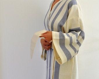 Kimono Robe Cotton Bath Robe Turkish Bath Towel Peshtemal Caftan Eco Friendly Dark Blue Sapphire Marine Extra Soft
