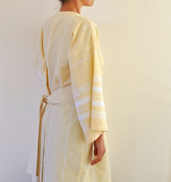 Peshtemal Bath Robe Kimono Robe Wearable Cotton Turkish Bath Towel Handmade Eco Friendly Yellow Obi Belt Pale Zen