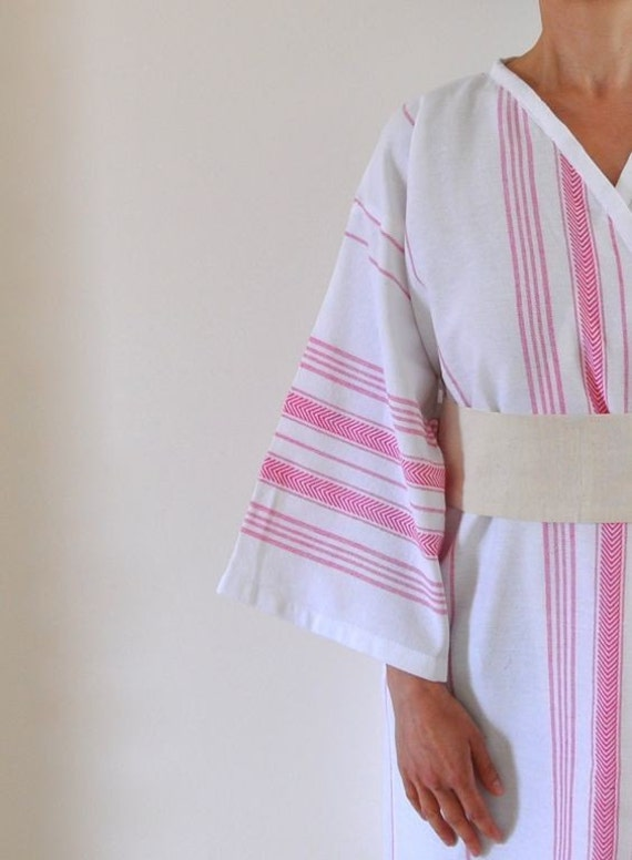 Handmade Eco Friendly White  Wearable Cotton Turkish Bath Towel - Peshtemal Kimono Robe Obi Belt Pink Fuchsia Striped Honeysuckle Unique