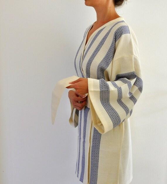 Kimono Robe Cotton Bath Robe Turkish Bath Towel Peshtemal Caftan Eco Friendly Dark Blue Sapphire Extra Soft