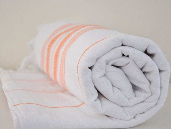 Bath Towel Peshtemal Double Sided Cotton Extra Absorbency Capacity Eco Friendly White Orange Striped  Pumpkin