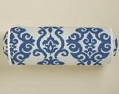 Bolster Pillow in Ikat Indigo Fabric
