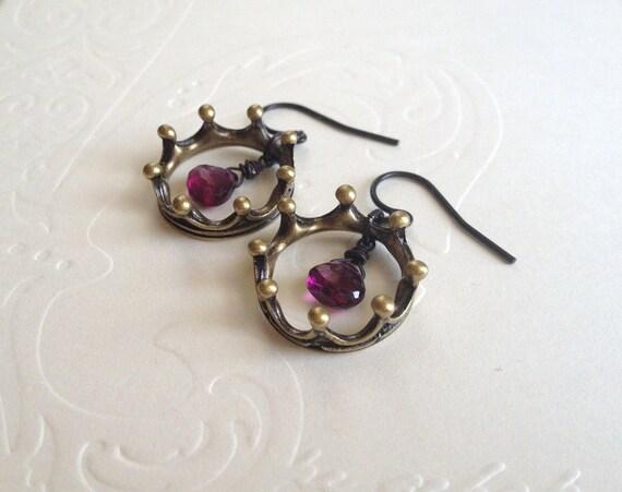 Rhodolite Garnet Crown Earrings