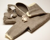 Felt hooded jumpsuit and booties of softest merino wool - felted baby overall merino wool crotchet