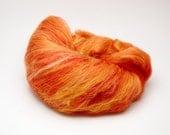 SALE The color of a flame - Fiber batt for spinning or felting, merino wool, silk. 2 oz