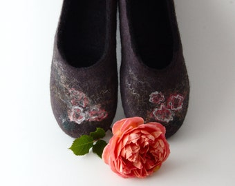 Felted Wool Slippers - Pink roses in black - handmade indoor flats - all sizes made to order
