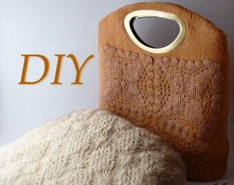 Tutorial pattern (PDF) in English - Wool felted purse bag handbag pdf - nuno felted merino wool, recycled crochet  a pocket tutorial