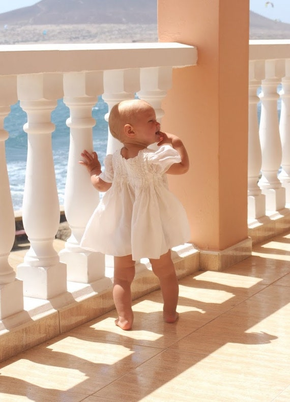 Special occasion baby girl dress - nuno felted natural silk and merino wool - white made to order newborn baby sizes