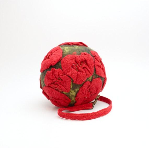 Purse nuno felt , Linen flower ball handbag