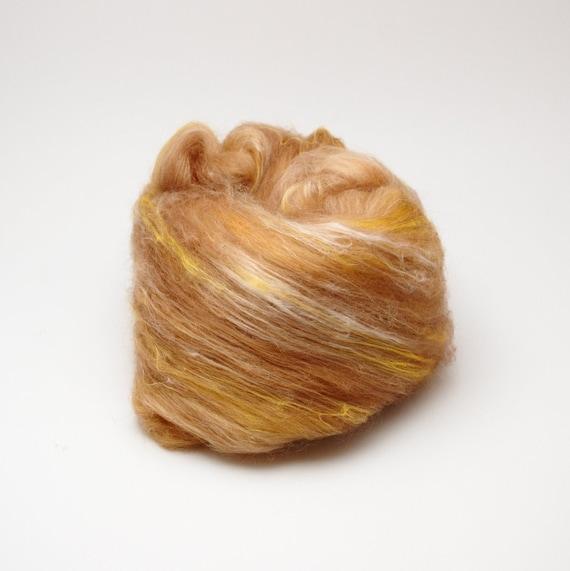 SALE Fiber batt for spinning and felting - merino wool, silk, flax - 2,1 oz, honey tones