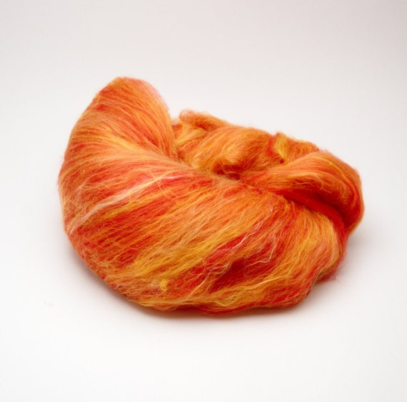 SALE The color of a flame - Fiber batt for spinning or felting, merino wool, silk. 2 oz