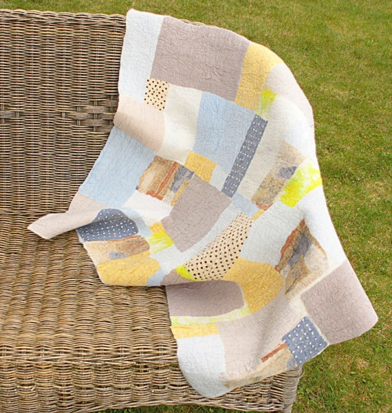 Baby felt blanket, Natural silk and wool quilt, Stroller, Crib patchwork