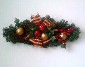 Clearance SALE-Red Artificial Silk Christmas Swag-Holiday Home-Office Decor