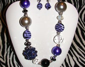 Chunky Purple and Silver Necklace
