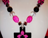Glossy PINK aNd BlAcK CrOsS Necklace Set & FREE ADDITIONAL shipping