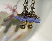 Blue Posies in Antique Brass