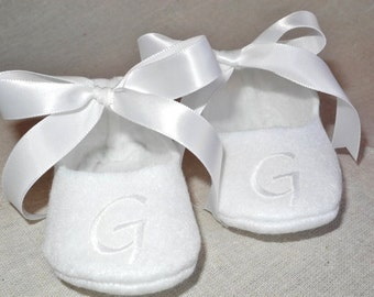 Baby Shoes - Baby Shoes for Baptism - Personalized White Booties - Christening