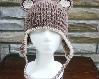 Brown Bear Crochet Earflap Hat