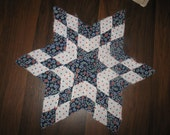 Vintage Quilt Piece -  Hand-pieced star design