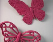 Retro Pink Butterfly Wall Hangings - Set of 2
