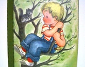 Vintage 1965 Book Page Illustration Wall Hanging - Boy with Squirrel