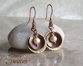 Brass and Copper Dangle earrings with Freshwater Pearl - 649E.C-1