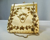 1930s purse / 40s beaded bag / cream leather purse
