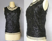 40s top / 1940's black beaded wool shell
