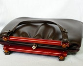 1940s purse / chocolate brown lucite handle 40s bag