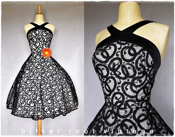 50s party dress / black illusion lace 1950s dress