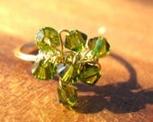 Earth Green Swarovski Crystal Ring - Size made to order