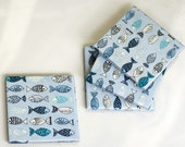 Blue Summer Coasters, The Fish, set of 4