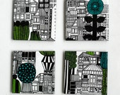 Ceramic Tile Coasters Marimekko City Graphical Black and White Green Modern Drink Coasters, set of 4