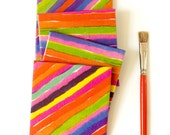 Tile Coasters Colorful painted stripes lines red orange brights neon hostess gift, set of 4