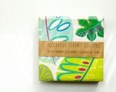 Coasters Tropical  Leaves, Green and Aqua, set of 4