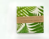 Bamboo and Ferns Ceramic Coasters, set of 4 - Tilissimo