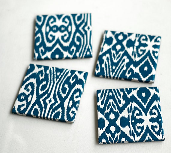 Ikat Coasters, Blue Ikat, Prussian blue, Set of 4