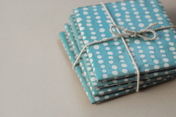 Ceramic coasters, Light blue with white dots, set of 4
