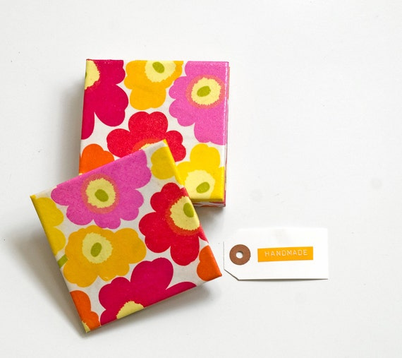 Tile coasters, Marimekko Unikko Bright, set of 4