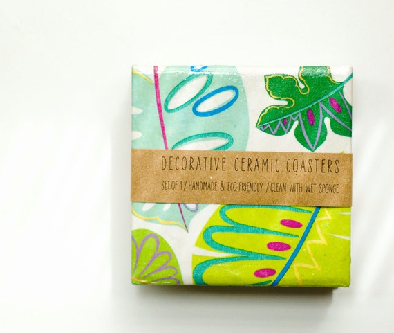 Coasters Tropical  Leaves, Green and Aqua, set of 4