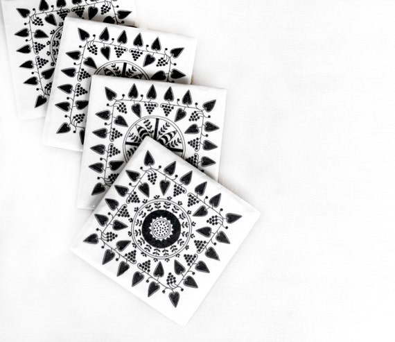 Coasters Black and White Scandinavian Pattern Folk Christmas Gift,set of 4