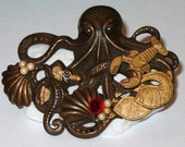 Octopus Garden with Lobster Seahorse Seashell Two Fish Brooch Pin