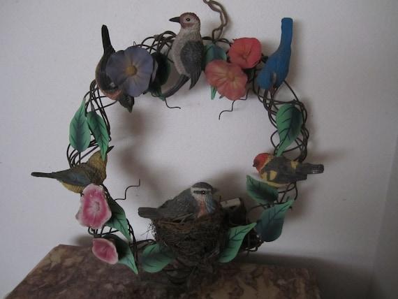 Metal Wreath Spring Birds Motion Sensored