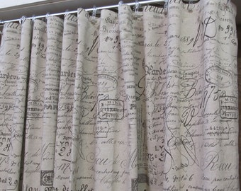 SHOWER CURTAIN in french script 72x72